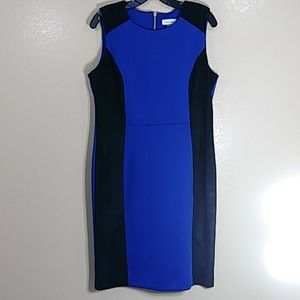 Calvin Klein Blue/Black sleeveless ,dress Sz 14